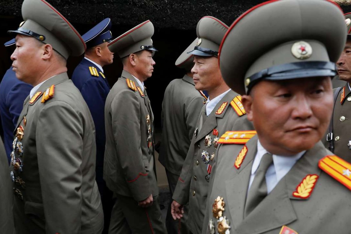 Military officers visit the birthplace of North Korean founder Kim Il-sung a day before the 105th anniversary of his birth just outside Pyongyang, North Korea. Photo: Reuters