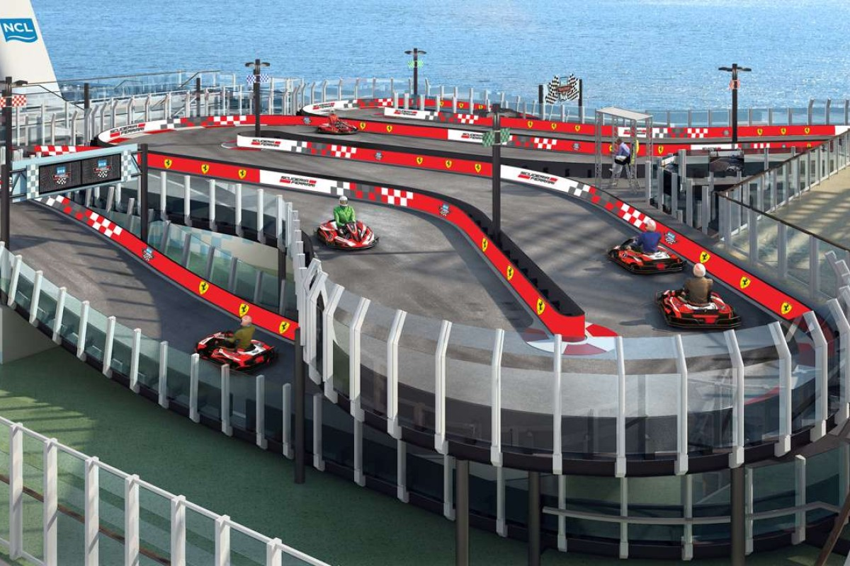 A two-level Ferrari race track on board the Norwegian Joy cruise ship