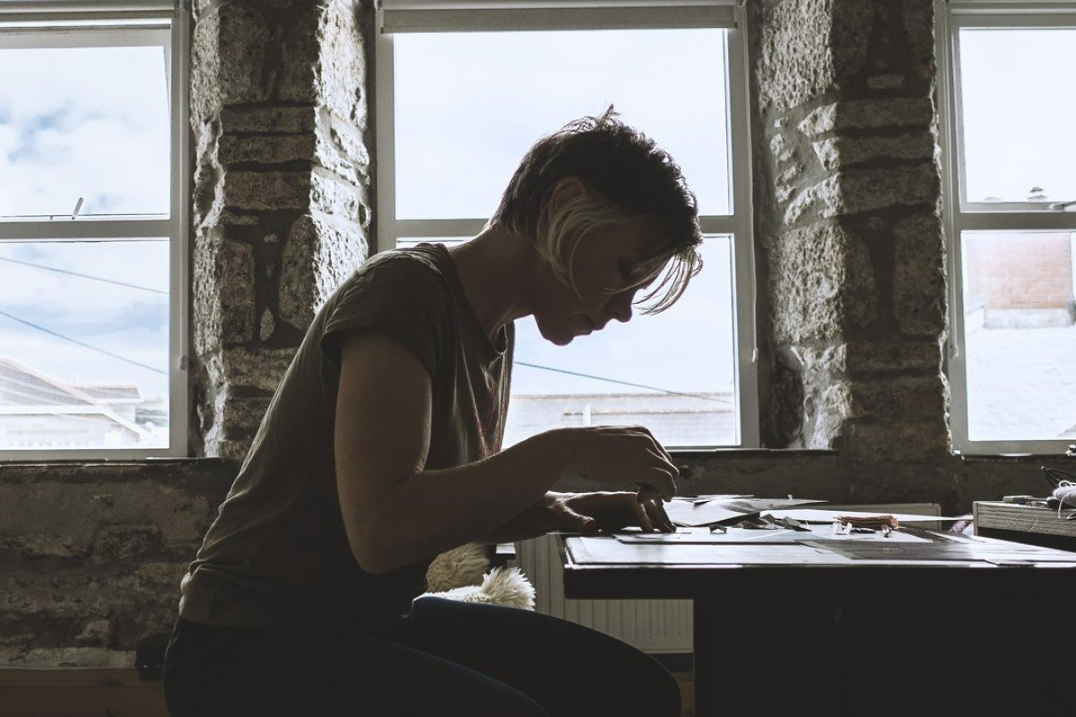 Reynolds in her studio in St Ives, Cornwall.