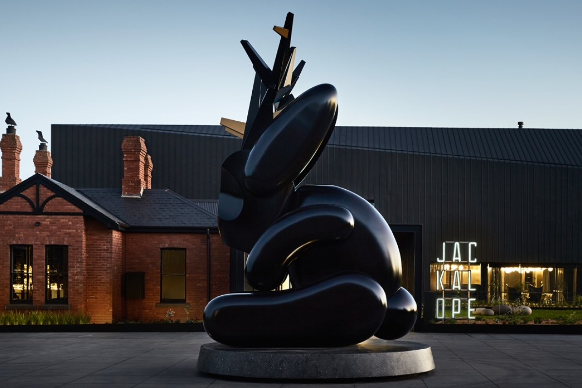 Emily Floyd's sculpture at the entrance of Jackalope, in Mornington Peninsula, Red Hill, Australia.