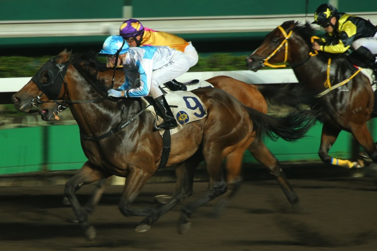 Sam Clipperton and Goldie Flanker swoop over their rivals to win at Sha Tin on Wednesday night. Photos: Kenneth Chan