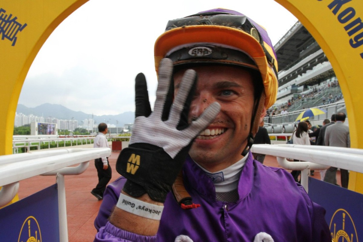 Umberto Rispoli holds up four fingers to celebrate his four winners at Sha Tin on Sunday. Photos: Kenneth Chan