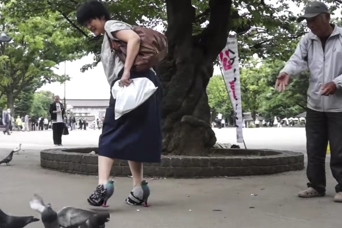 "A screen grab from YouTube shows Kyoto Ohata's and her ""pigeon shoes"". Picture: courtesy of Kyoto Ohata"