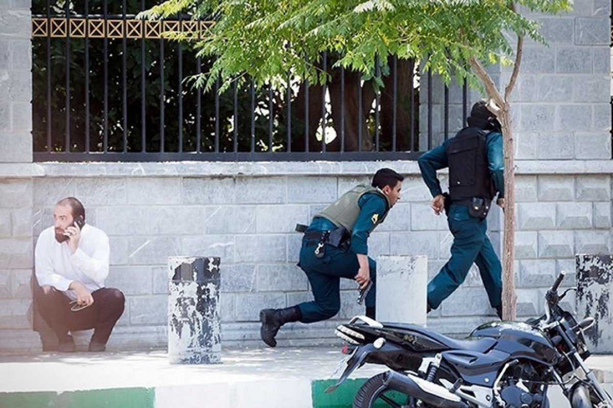 Iranian forces react to the attack on the Iranian parliament. Photo: Reuters