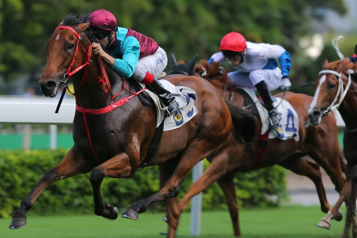 Joao Moreira guides Beat The Clock to victory at Sha Tin on Sunday. Photos: Kenneth Chan