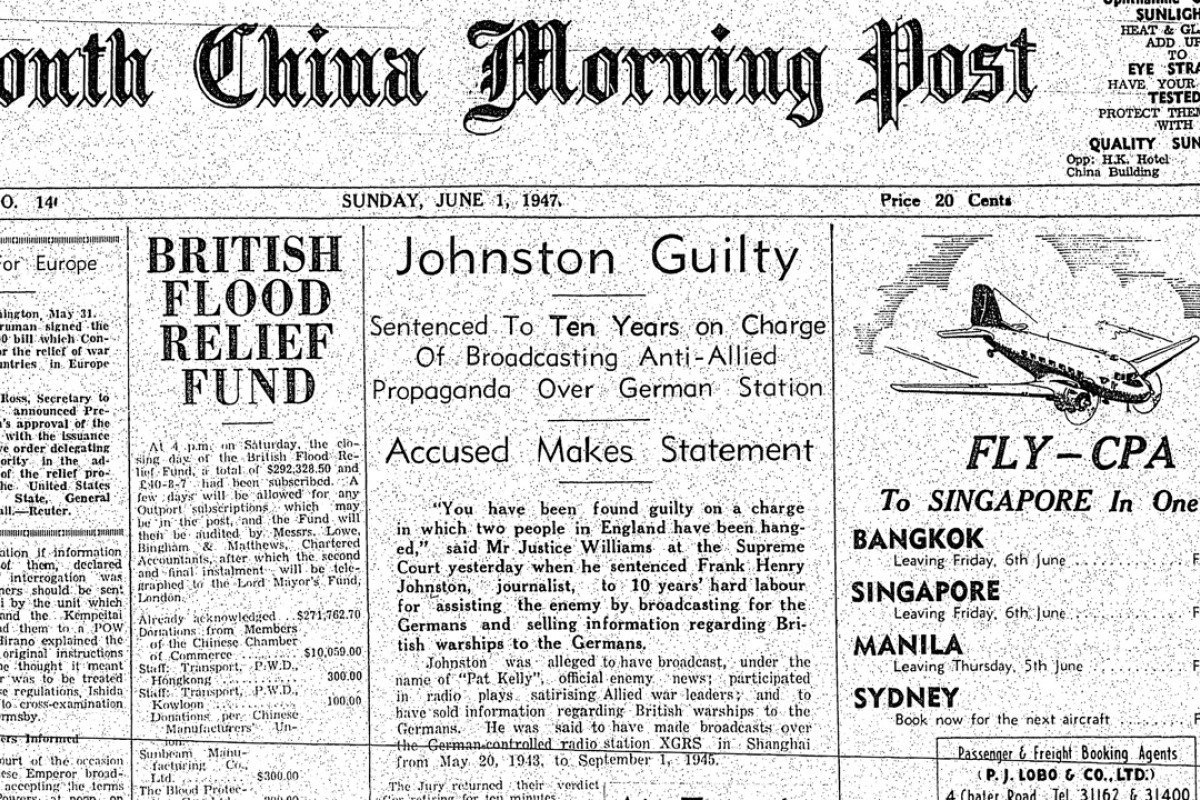 The front page of the South China Morning Post's June 1, 1947 edition featured a report on the Frank Henry Johnston case.
