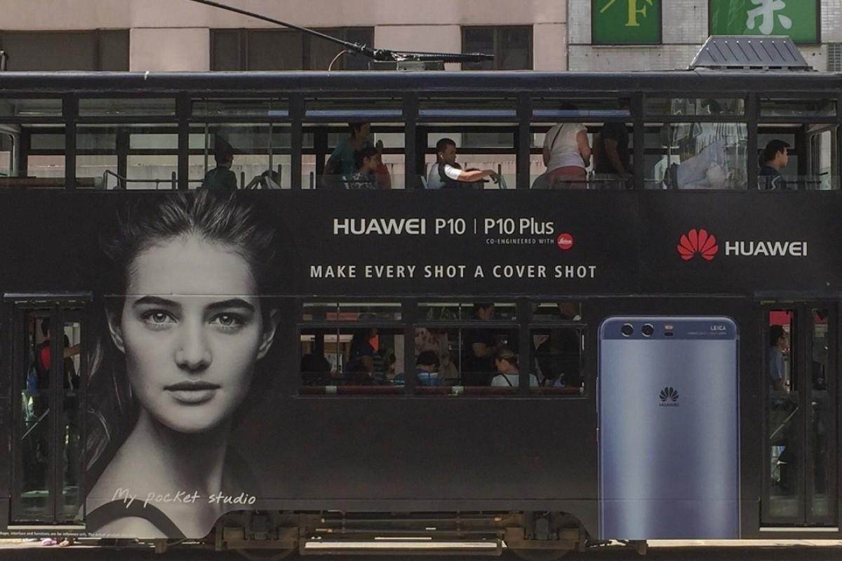 An advert for Huawei on a Hong Kong tram. Picture: Mark Sharp