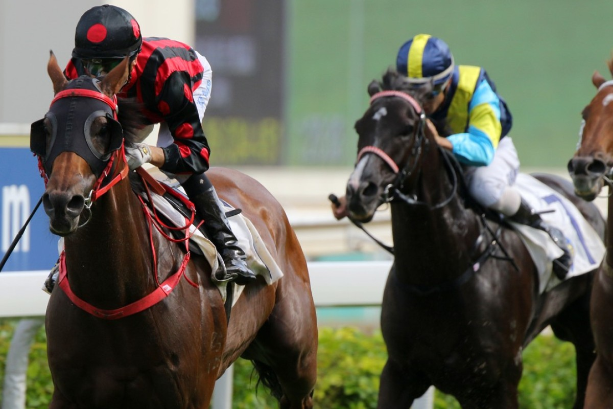 Joao Moreira guides Thewizardofoz to victory in the Group Three Premier Cup at Sha Tin on Sunday. Photos: Kenneth Chan