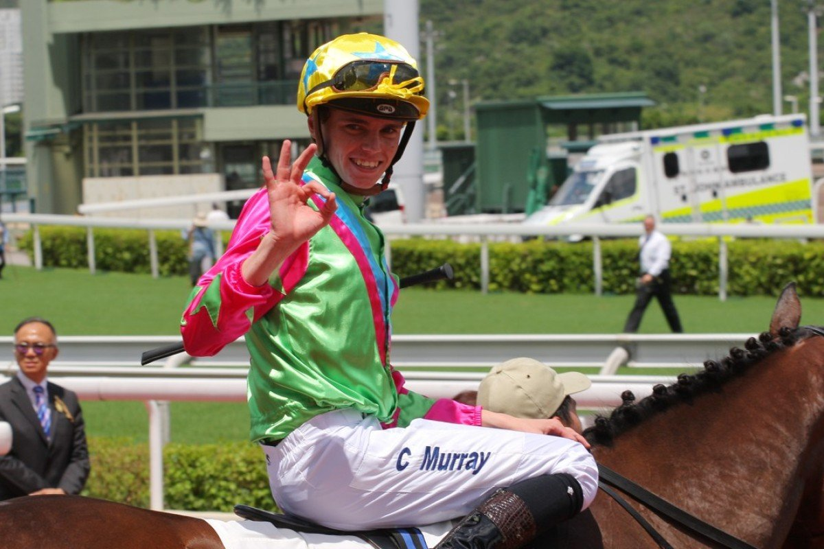 Callan Murray celebrates Horse Of Fortune's victory in the Premier Plate. Photos: Kenneth Chan