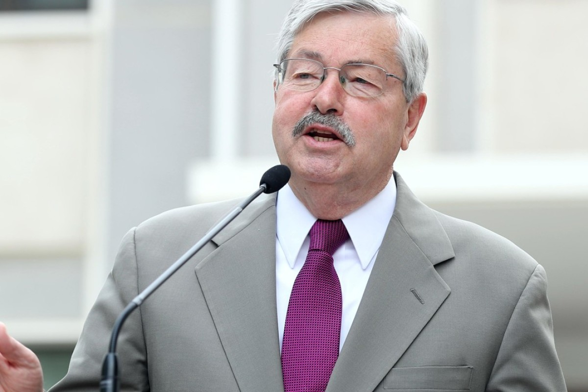 US Ambassador to China Terry Branstad speaks to the media at his residence in Beijing. Photo: Xinhua