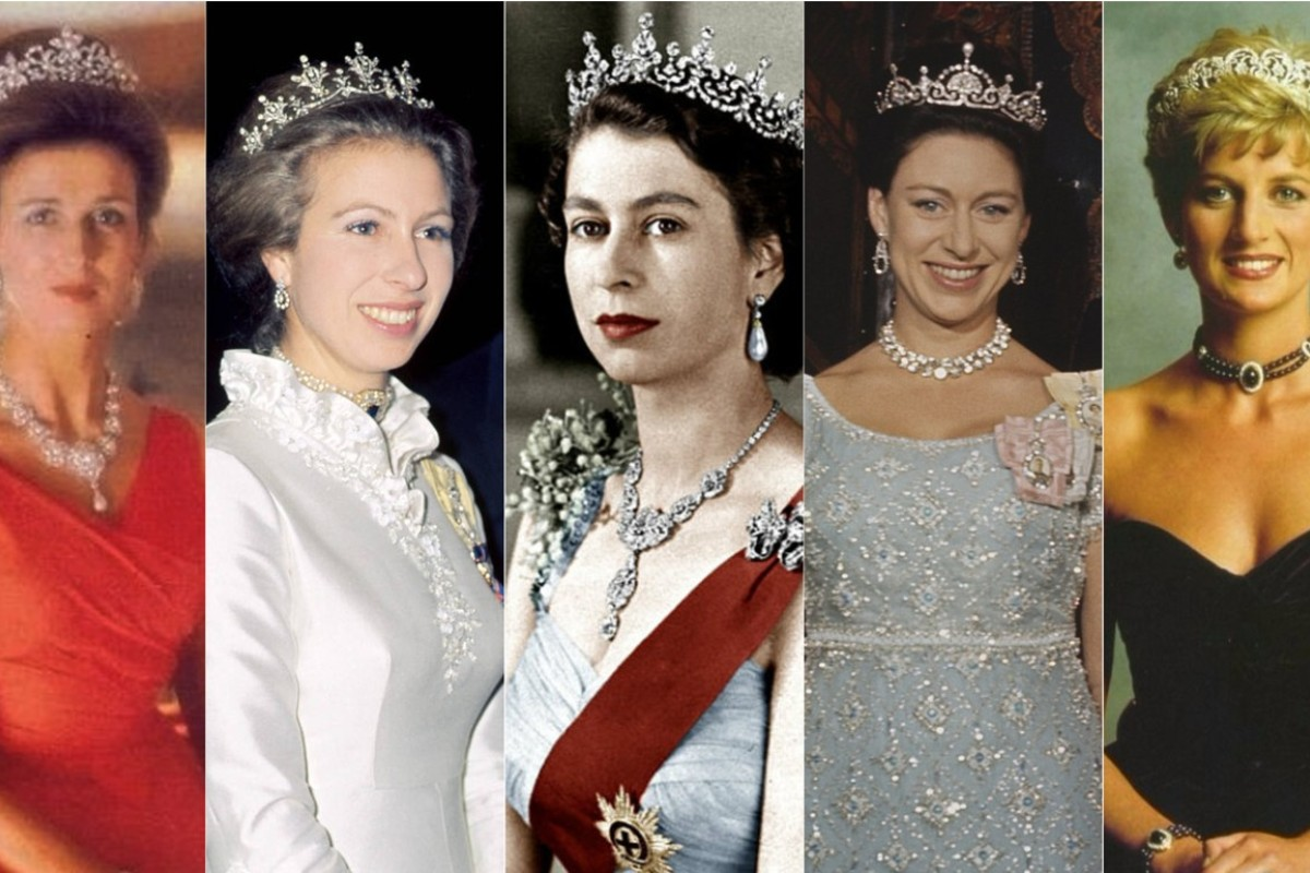 (from the left) Princess Alexandra, Pricness Anne, Queen Elizabeth, Pricness Margret and Princess Diana.
