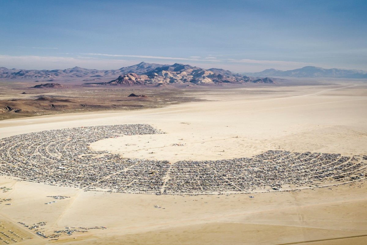 An aerial view of Burning Man 2015. Picture: Alamy