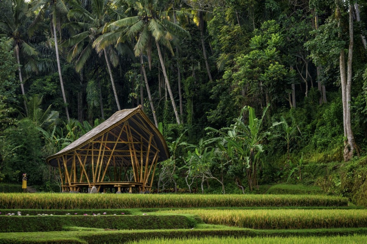 The open-air yoga pavilion at the Four Seasons Resort Bali at Sayan, in Ubud.