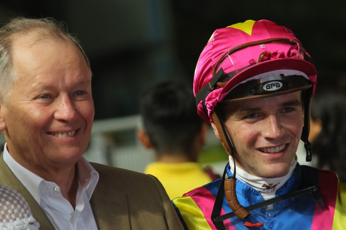 Jockey Sam Clipperton and John Moore after one of their 16 winners together last season. Photos: Kenneth Chan.