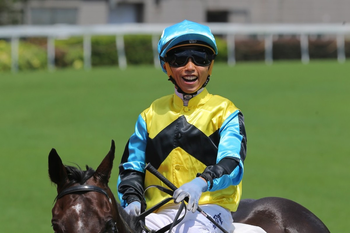 A delighted Matthew Poon after winning aboard Hit A Home Run on Sunday. Photos: Kenneth Chan.