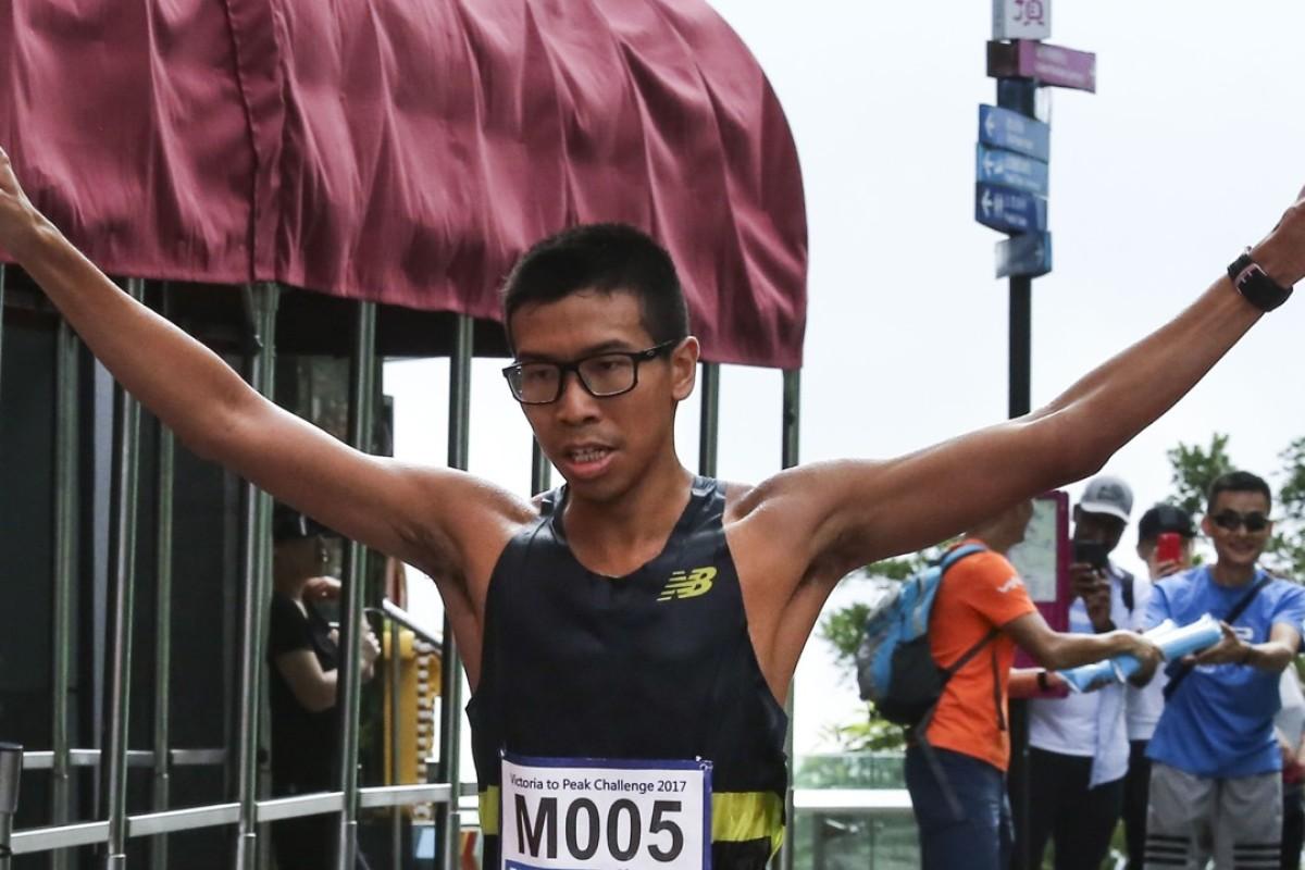 Ryan Yip Tung-hoi crosses the finish line, despite taking a wrong turn. Photos: Jonathan Wong