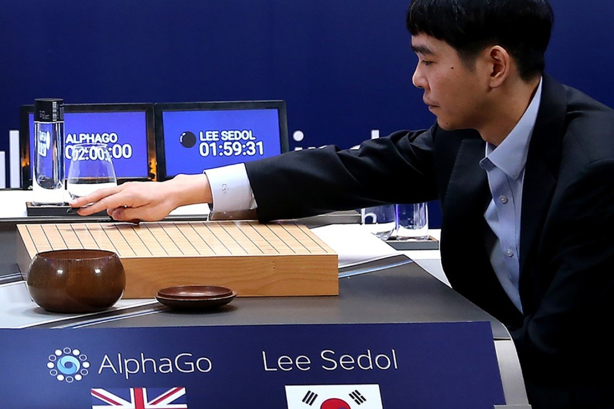Lee Se-Dol, one of the greatest modern players of the ancient board game Go, makes a move during the third game of the Google DeepMind Challenge Match against Google-developed supercomputer AlphaGo in Seoul. Photo: AFP
