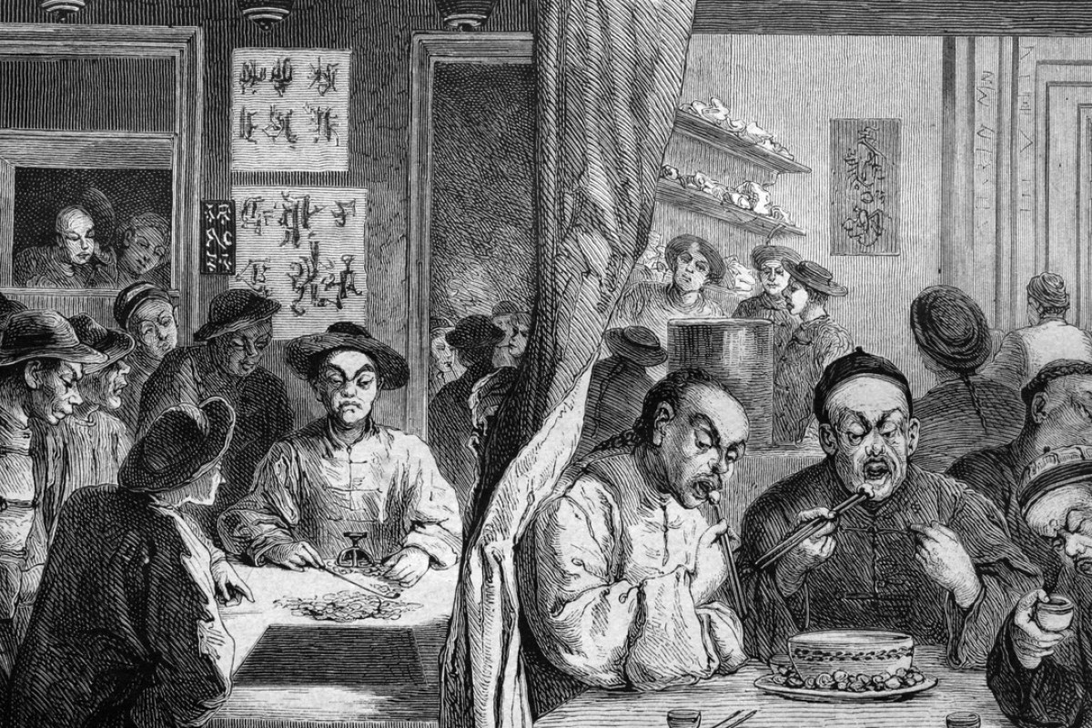 An 1886 illustration of a gambling house and restaurant in Melbourne's Chinatown. Picture: Alamy
