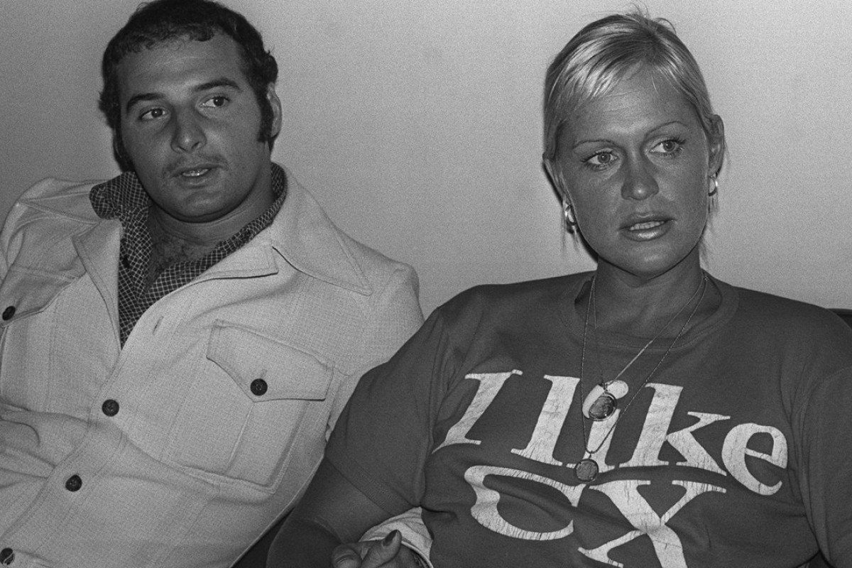 Australian Linda McGill and her fiancé, Dr Bruce Logan, ahead of McGill's Cathay Pacific-sponsored swim around Hong Kong Island, in 1976.