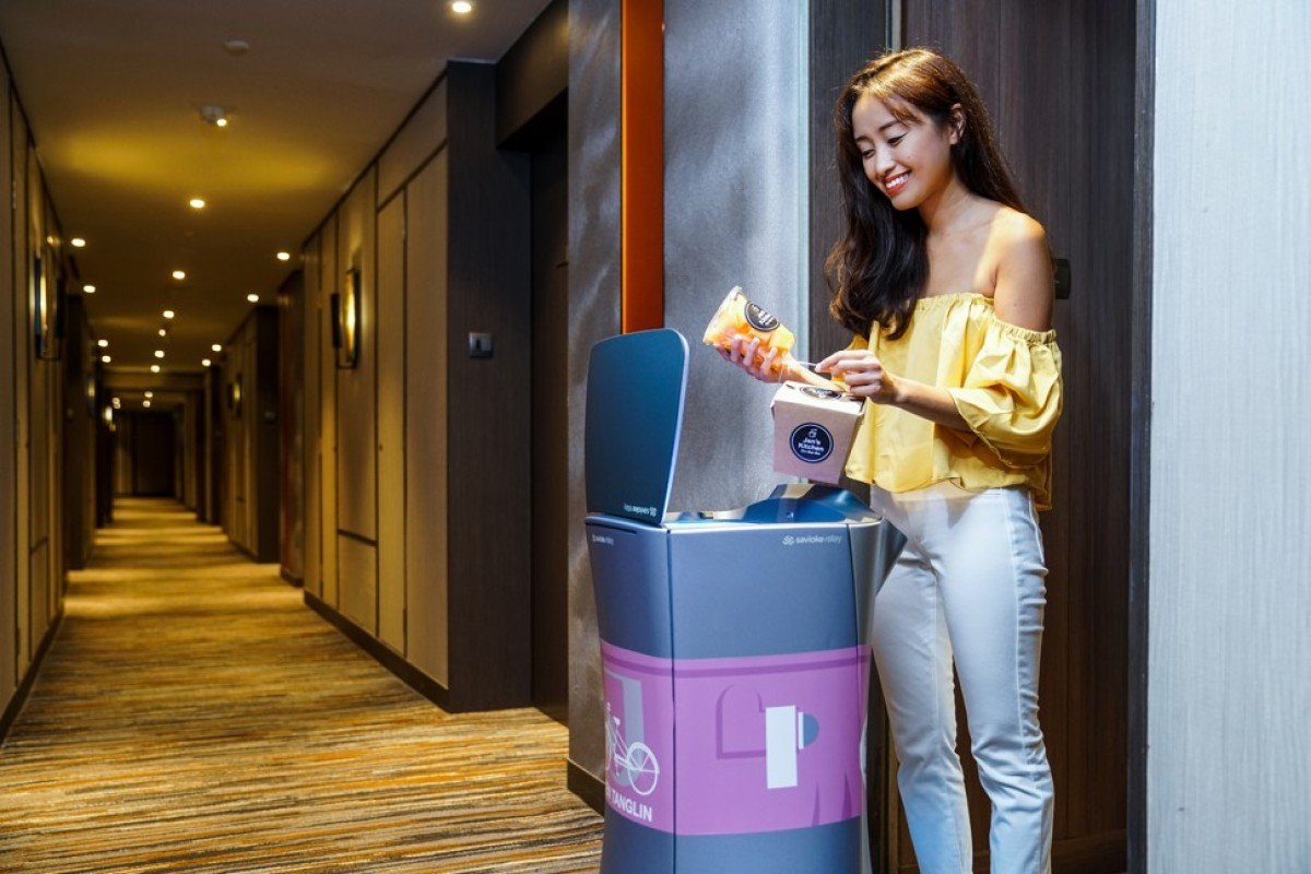 Jena, a Relay robot, making a delivery at Hotel Jen Tanglin Singapore.