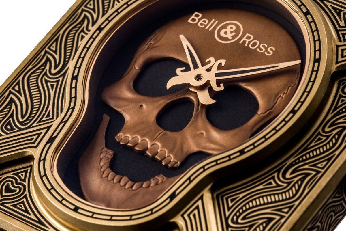 The limited edition Bell & Ross BR01 Burning Skull Bronze watch. Photo: Bell & Ross