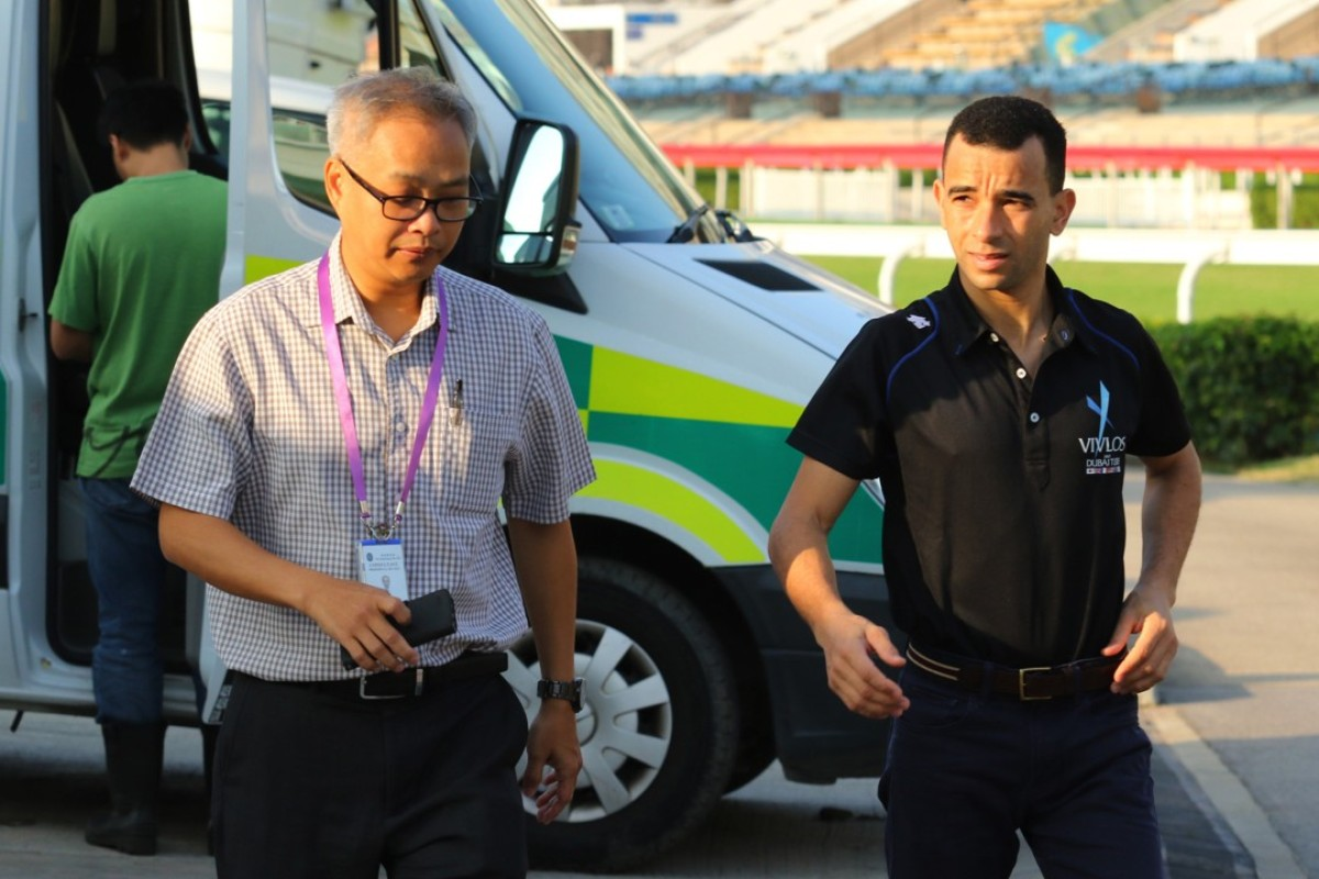 Joao Moreira (right) sees a Jockey Club doctor for a check-up on Friday morning. Photos: Kenneth Chan