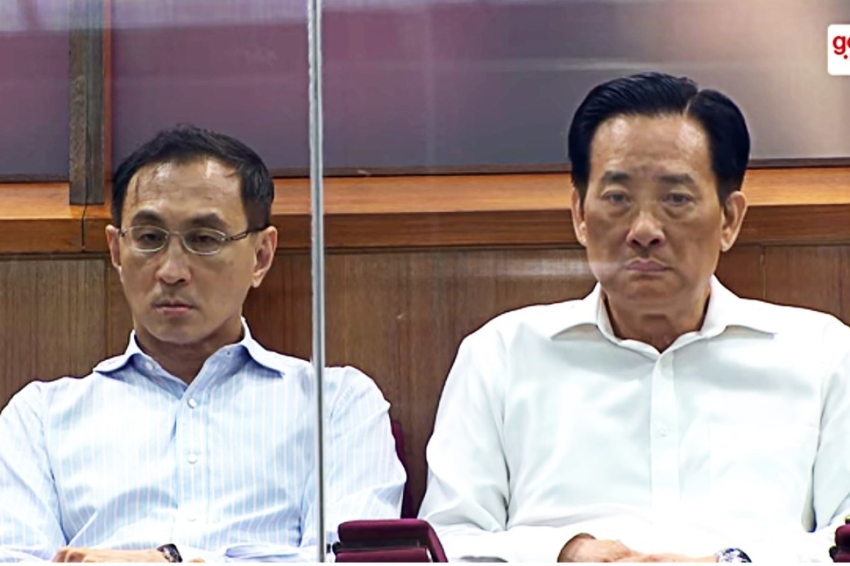 Desmond Kuek and Seah Moon Ming listen to the parliamentary hearing in the public gallery. Image: YouTube