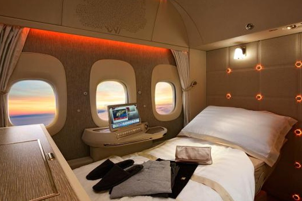 The bed in an Emirates Boeing 777 first-class- suite. Photo: Emirates
