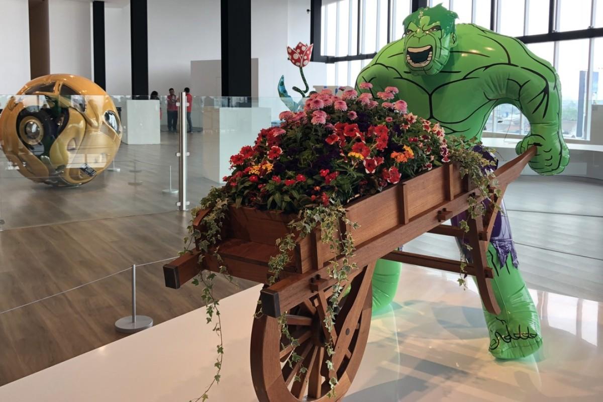 """Jeff Koons' Hulk (Wheelbarrow) in the """"Sculpture Garden"""", in Museum Makan, in Jakarta. Picture: Enid Tsui"""
