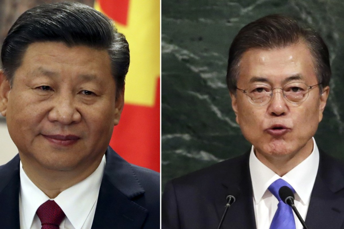 Chinese President Xi Jinping and South Korean President Moon Jae-in. Photo: AP