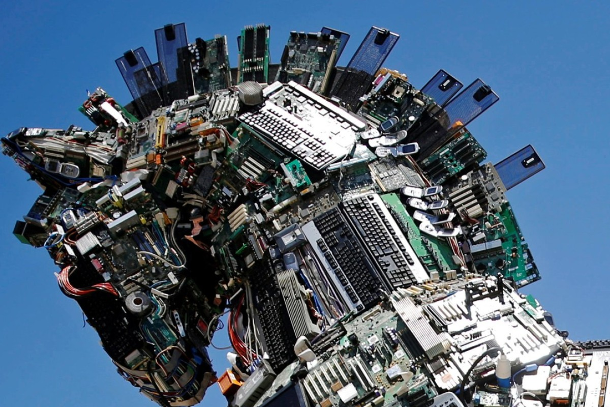 A 'Cyber Horse', made from thousands of infected computer and mobile phone bits, at Tel Aviv University. Photo: Reuters