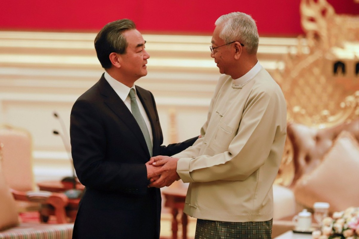 China's Foreign Minister Wang Yi (left) and Myanmar's President Htin Kyaw before a meeting in Naypyidaw last week in Myanmar. Photo: Reuters