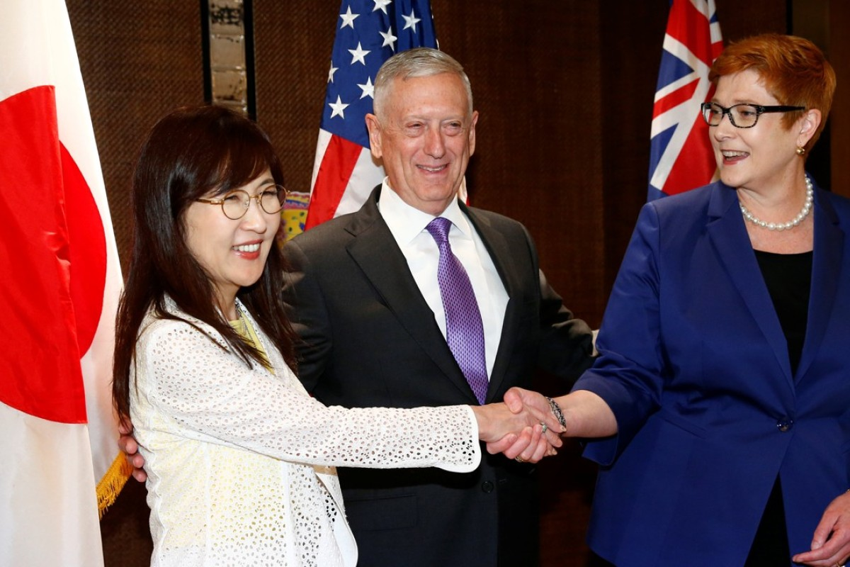 (From left) Japan's defence minister Tomomi Inada, US defence secretary James Mattis and Australia's defence minister Marise Payne. Photo: Reuters