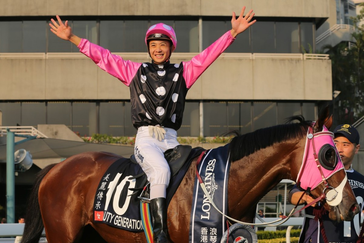 Derek Leung celebrates his greatest moment with victory on Beauty Generation in the Hong Kong Mile. Photo: Kenneth Chan