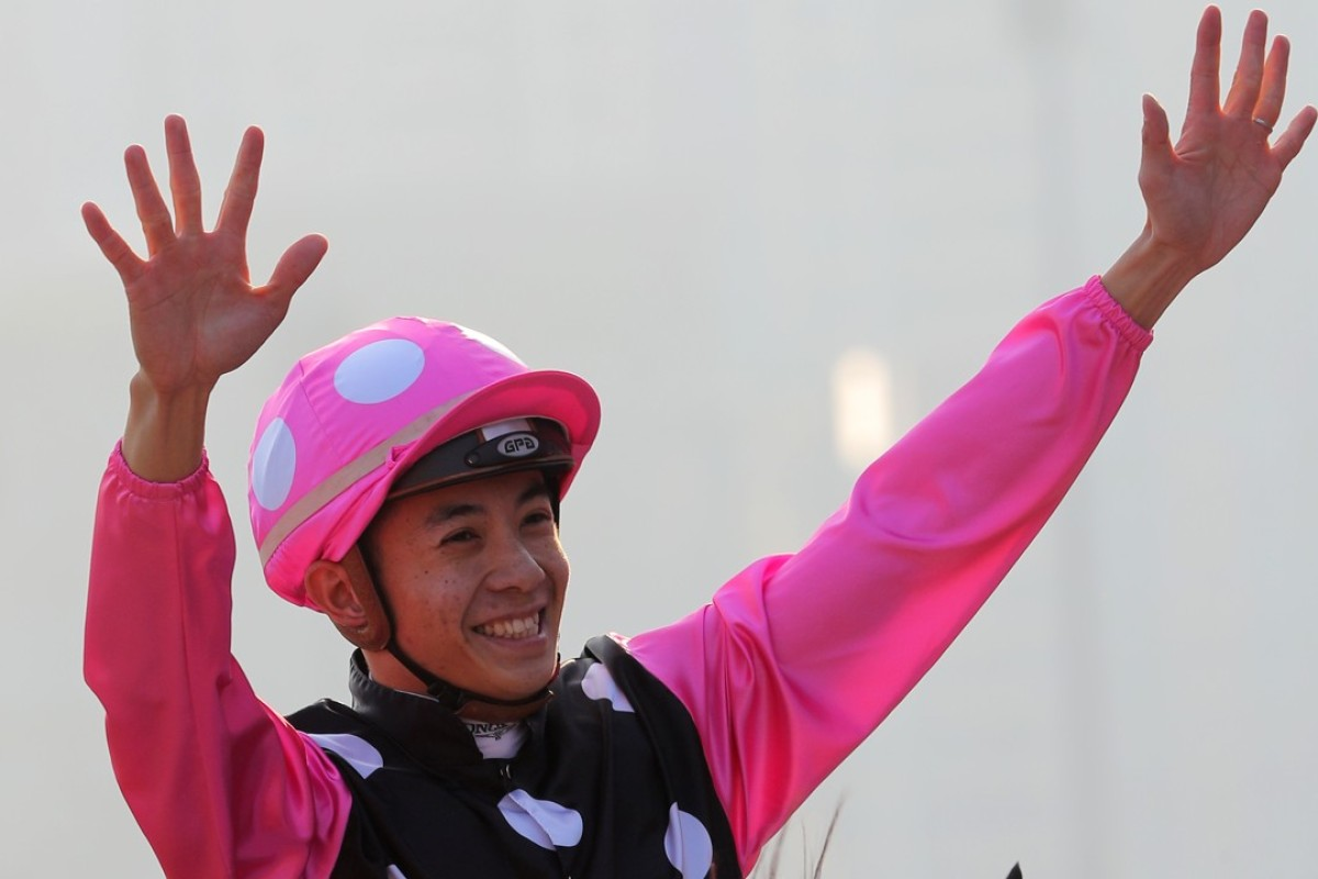 Derek Leung after his breakthrough win on Beauty Generation in the Hong Kong Mile on December 10. Photos: Kenneth Chan.