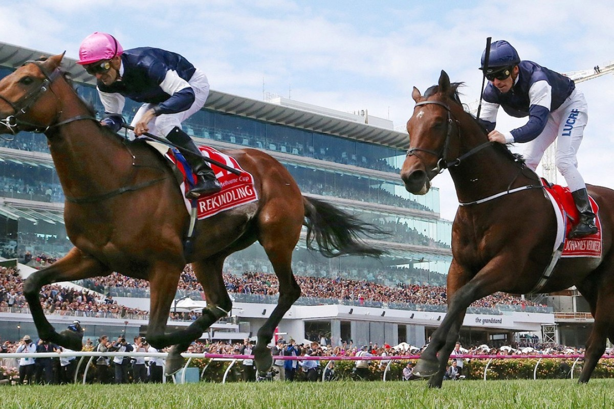 "Rekindling wins the 2017 Melbourne Cup ahead of Johannes Vermeer. ""The race that stops a nation"" will probably survive a cull in simulcasts from Australia. Photo: Reuters"