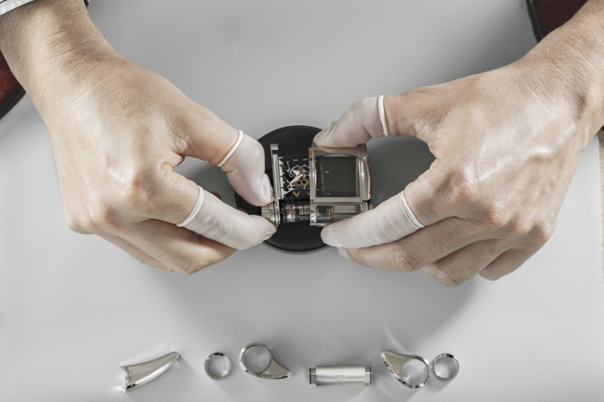 Beating inside of the Parmigiani x Bugatti prototype, there are some parts not quite like the others.