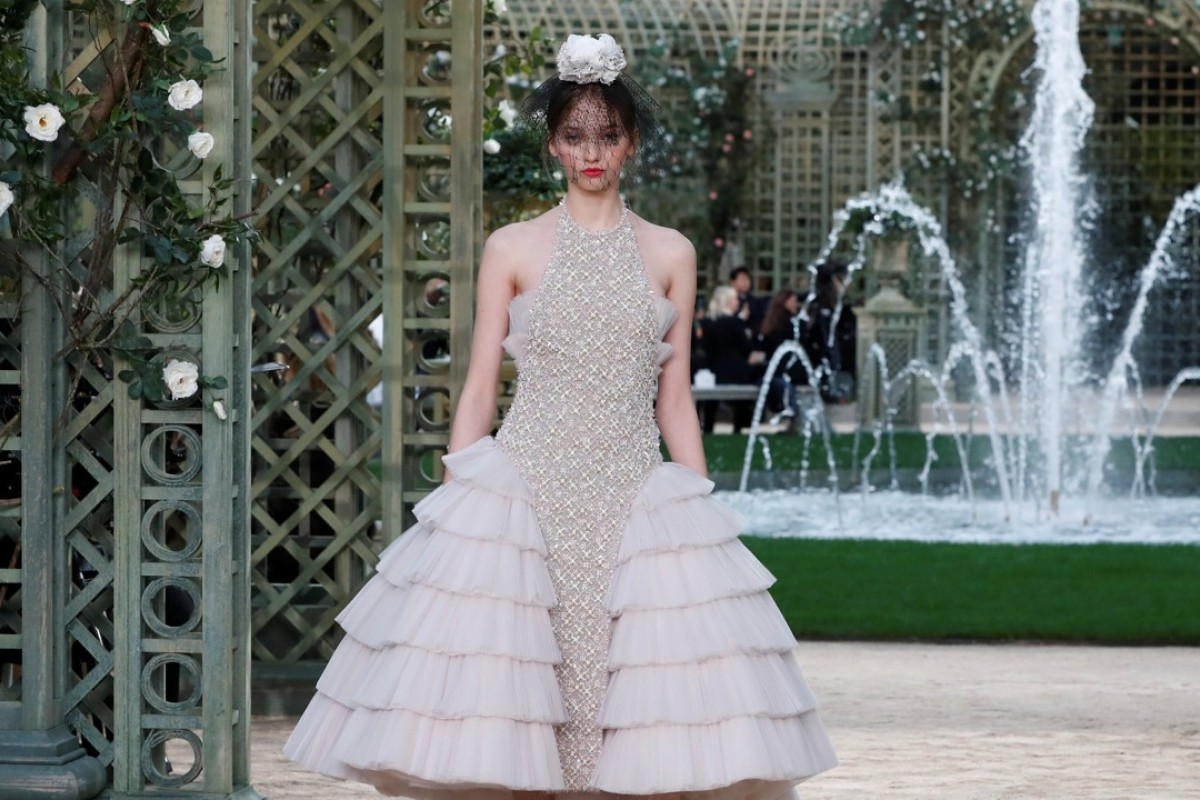 A model presents one of Karl Lagerfeld's creations as part of his Haute Couture Spring Summer collection for Chanel in Paris. Photo: Reuters