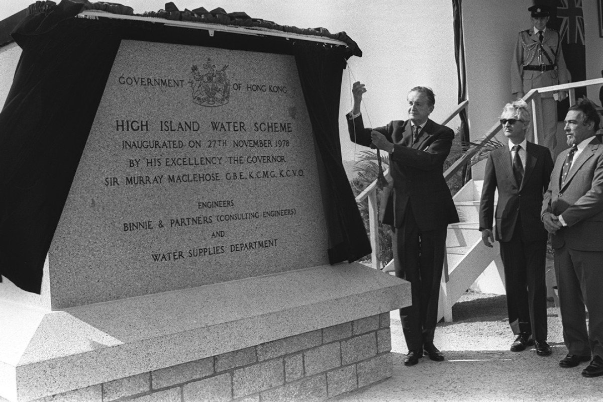 Hong Kong Governor Sir Murray MacLehose unveils a commemorative stone to mark the opening of the High Island Reservoir in November 1978. Picture: SCMP