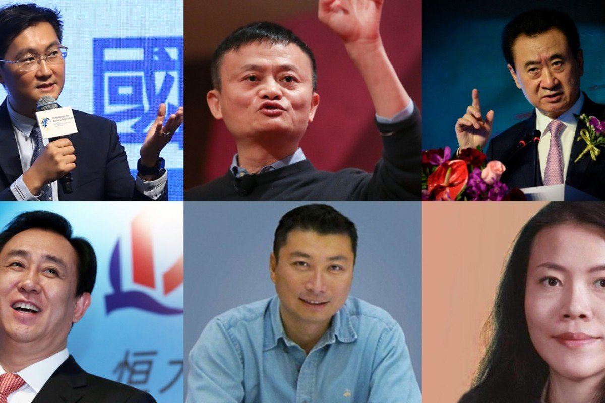 (Clockwise from top left) Ma Huateng, Jack Ma, Wang Jianlin, Yang Huiyan, Wang Wei and Xu Jiayin are featured in the top six in a new poll of China's 1,000 richest billionaires, compiled by Chinese business news website Jiemian.com.