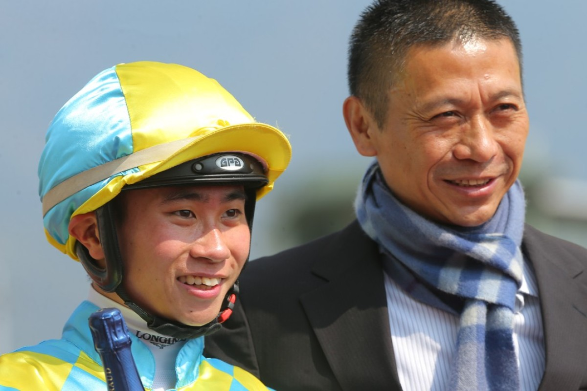 Dylan Mo and Danny Shum celebrate their first win together this season last Sunday at Sha Tin. Photos: Kenneth Chan.