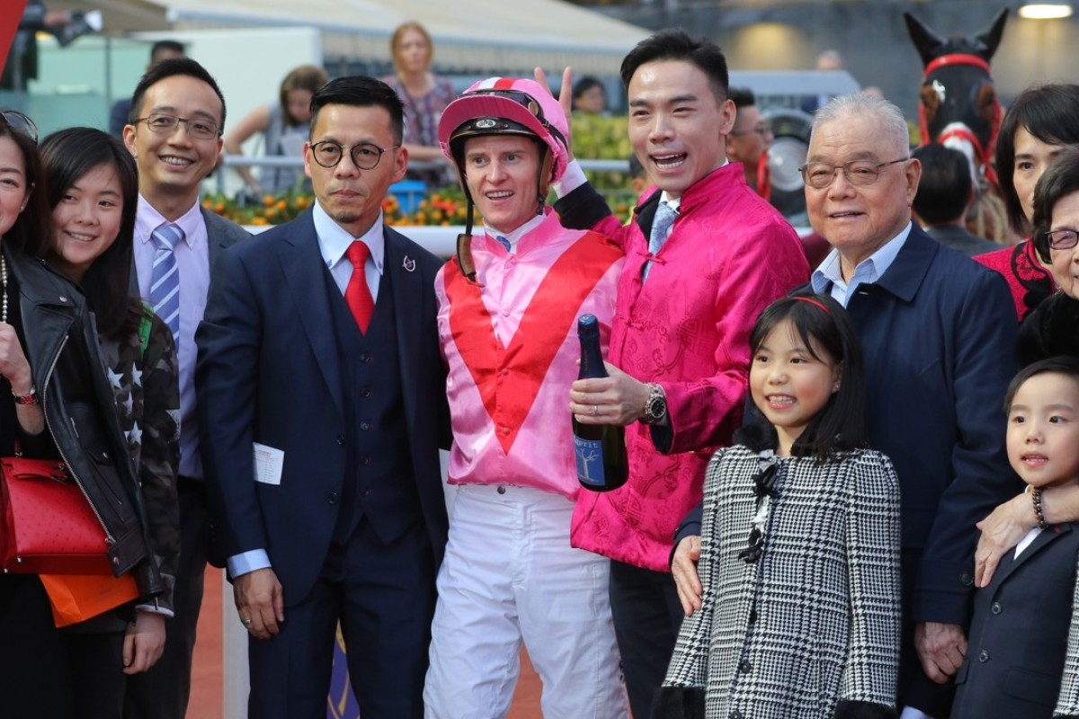 Simply Brilliant's connections celebrate the win. Photos: Kenneth Chan