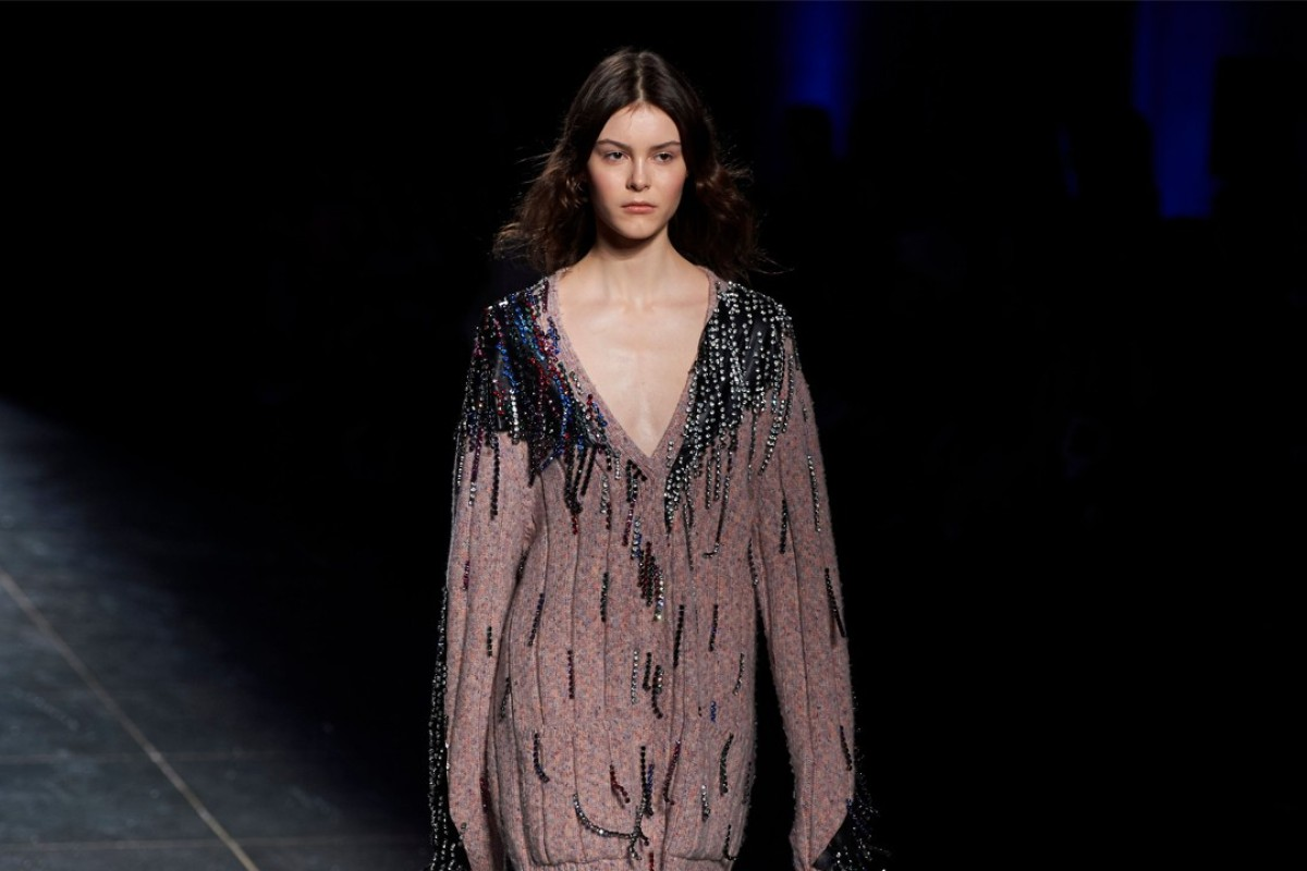 A model wears a creation by designer Christopher Kane during Monday's catwalk show at London Fashion Week. Photo: AFP