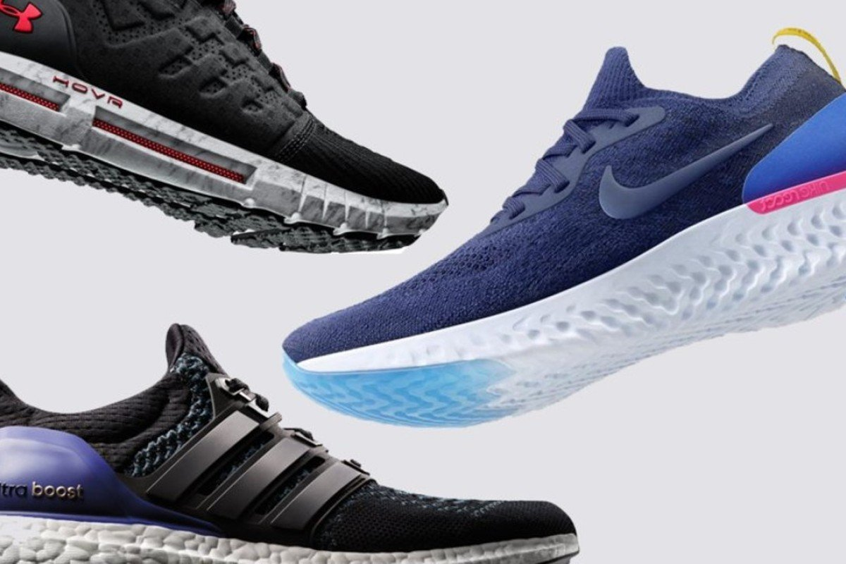 The three foam contenders, clockwise from top left, by Under Armour, Nike and Adidas. Photos: Under Armour, Nike and Adidas