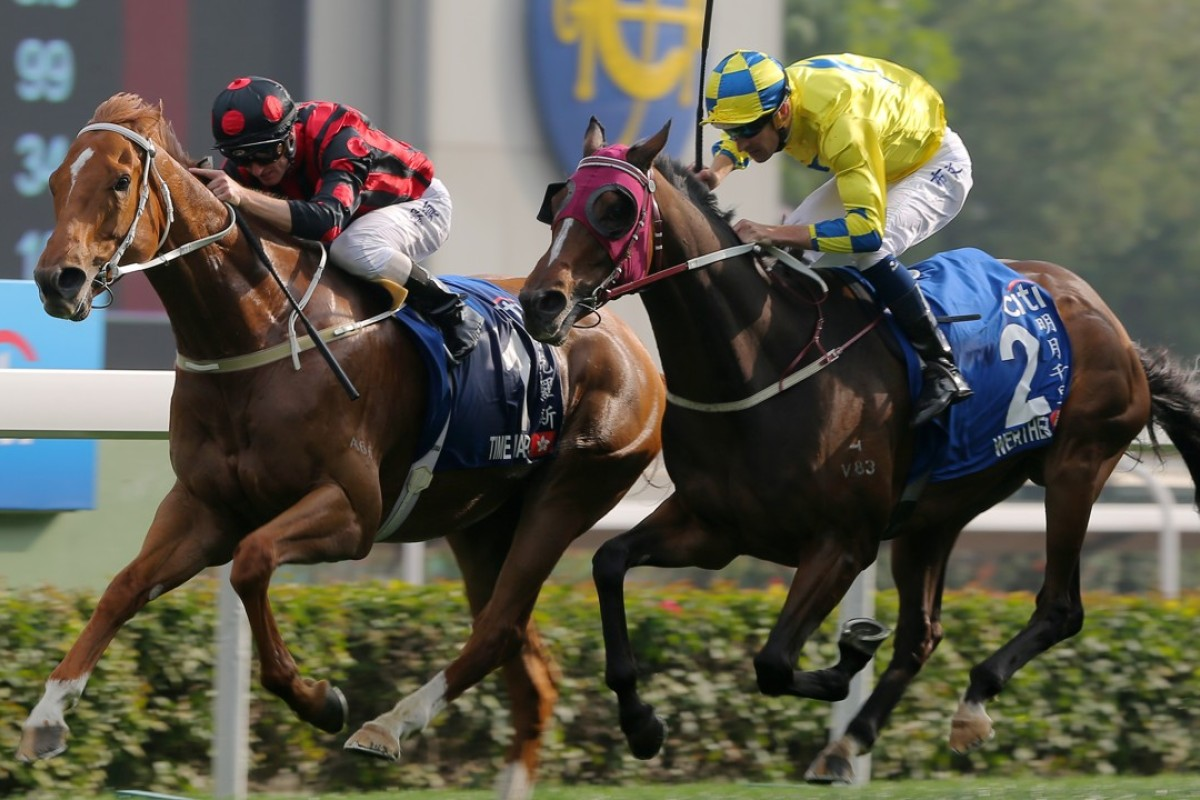 Zac Purton urges Time Warp to victory in the Group One Citi Hong Kong Gold Cup, beating Hugh Bowman and Werther. Photos Kenneth Chan