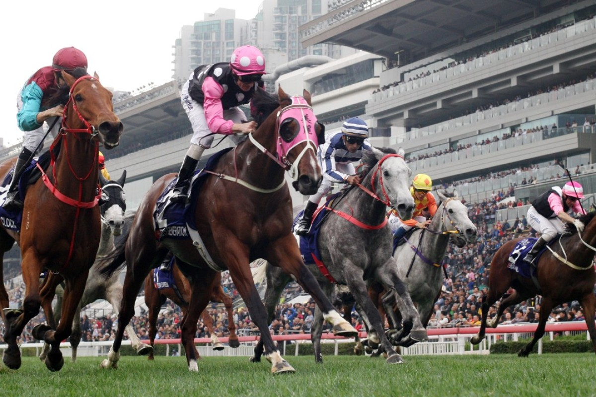 Zac Purton and Beauty Generation (second from left) win the Group One Queen's Silver Jubilee Cup. Photo: Kenneth Chan