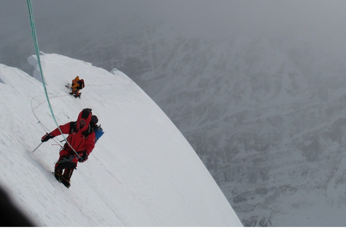 A polish team makes the first winter ascent of Nanga Parbat in 2007. They are now attempt to climb K2, but Denis Urubko has set out alone. Photo: Artur Hajzer