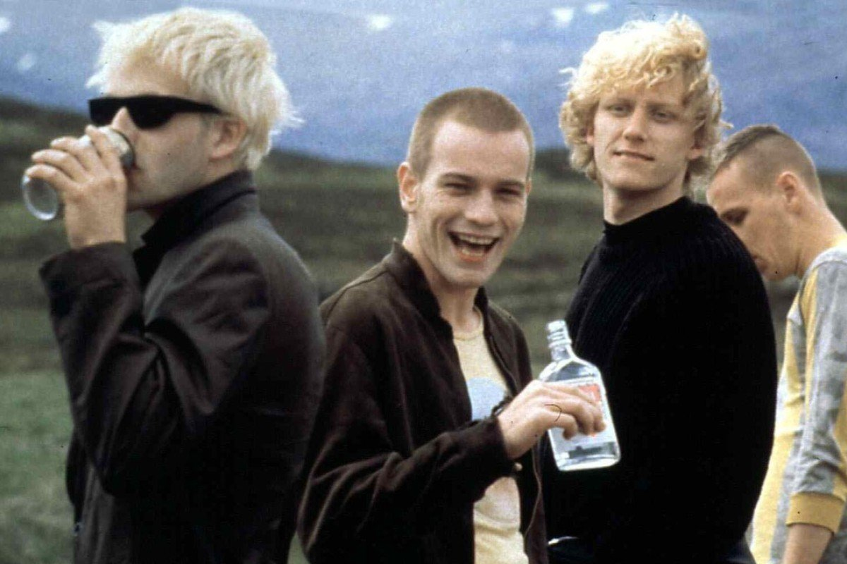 A scene from Trainspotting shows Sick Boy (Jonny Lee Miller), Renton (Ewan McGregor), Tommy (Kevin McKidd) and Spud (Ewen Bremner).