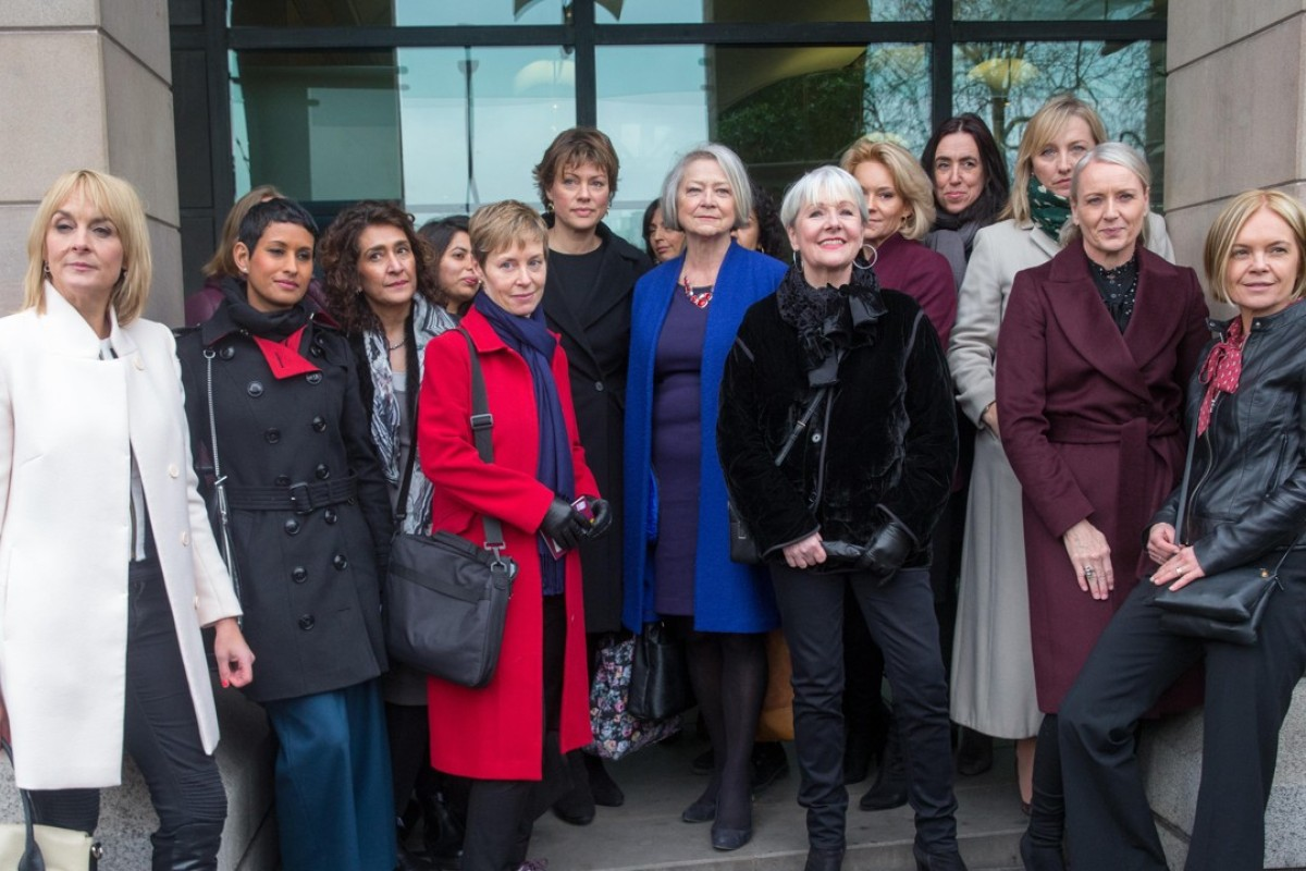 Journalists including Naga Munchetty (second from left), Kate Silverton (seventh from left), Kate Adie (in blue coat) and Mariella Frostrup (far right) wait outside London's Portcullis House on January 31 to support Carrie Gracie as she answers questions at the House of Commons Digital, Culture, Media and Sport select committee. Picture: Alamy