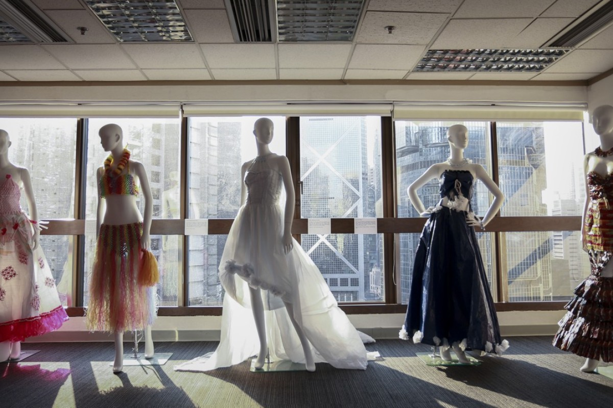 Some of the outfits designed by Hong Kong domestic helper Elpie Malicsi on show at the Philippine consulate, in Admiralty. Picture: James Wendlinger
